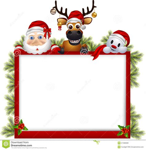 Santa Claus ,deer And Snowman With Blank Sign Royalty Free